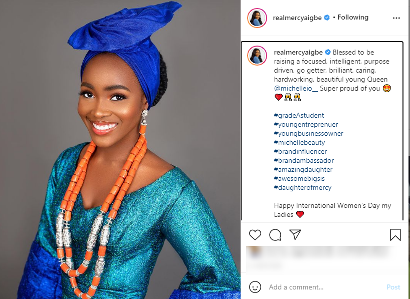 Mercy Aigbe gushes over daughter, Mitchelle -Says, 'I am blessed to be raising you'